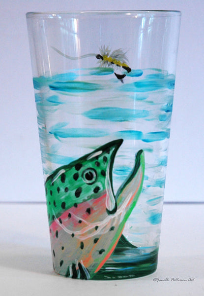 Fly Fishing Pint Glass - Janelle Patterson Art