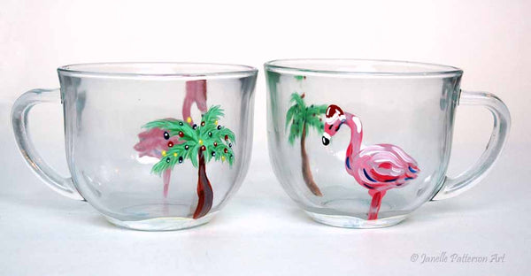Flamingo Christmas Glass Mug - Janelle Patterson Art