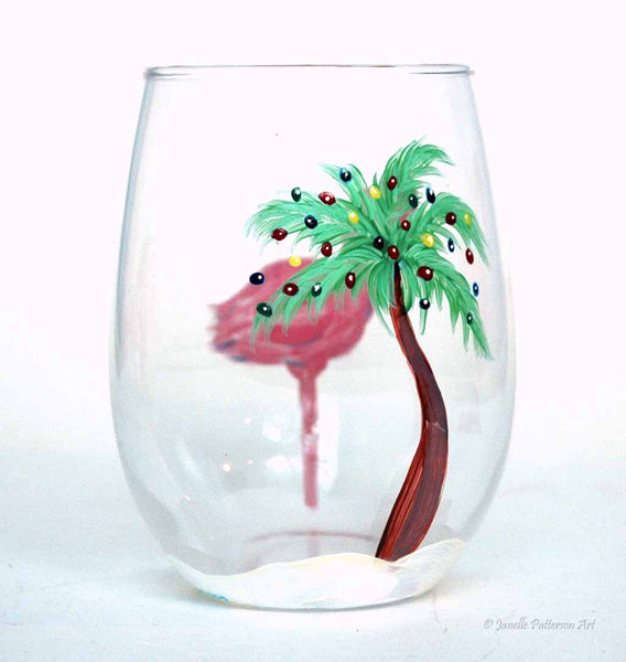 Flamingo Christmas Stemless Glass - Janelle Patterson Art