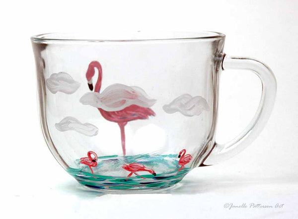 Flamingo Glass Mug - Janelle Patterson Art
