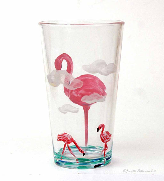 Flamingo Pint Glass - Janelle Patterson Art