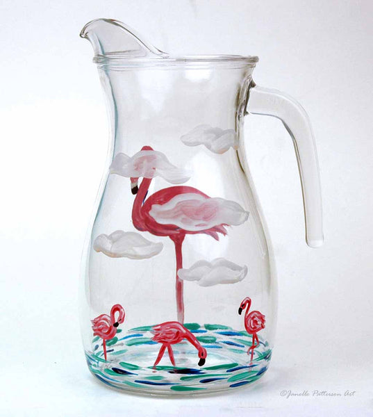 Flamingo Pitcher - Janelle Patterson Art