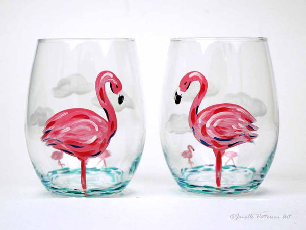 Flamingo Stemless Glass - Janelle Patterson Art