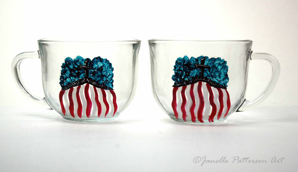 God Bless America Hand Painted Glass Mug - Janelle Patterson Art