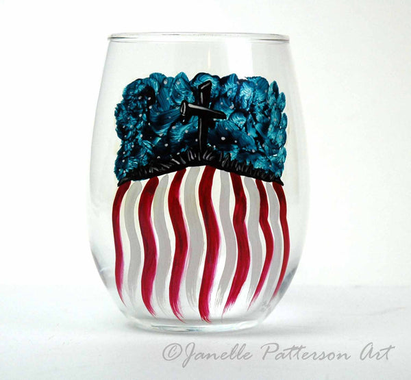 God Bless America Hand Painted Stemless Glass - Janelle Patterson Art