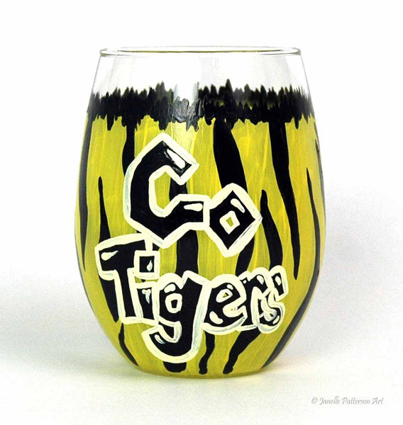 Go Tigers Stemless Glass - Janelle Patterson Art