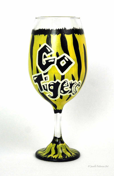 Go Tigers Wine Glass - Janelle Patterson Art