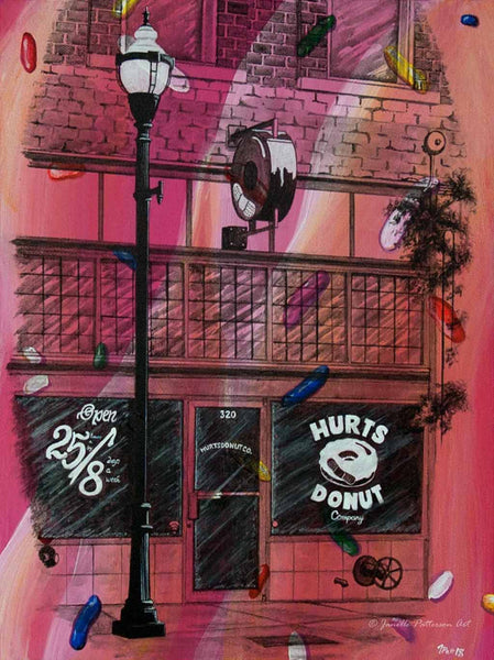 Hurts Donuts Original Painting - Janelle Patterson Art