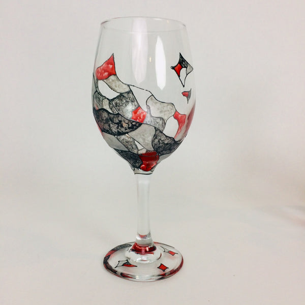 Red Abstract Wine Glass