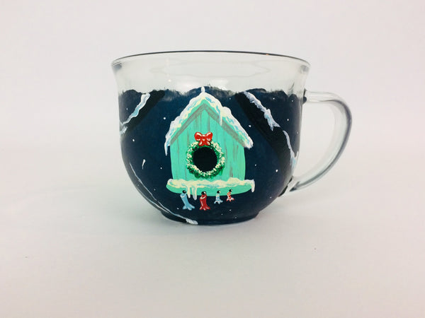 Birdhouse Christmas Glass Mug
