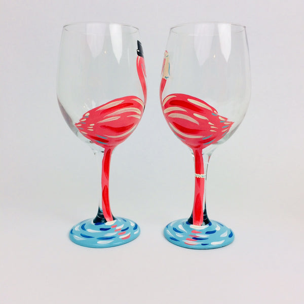 Pink Flamingo Wedding Wine Glass