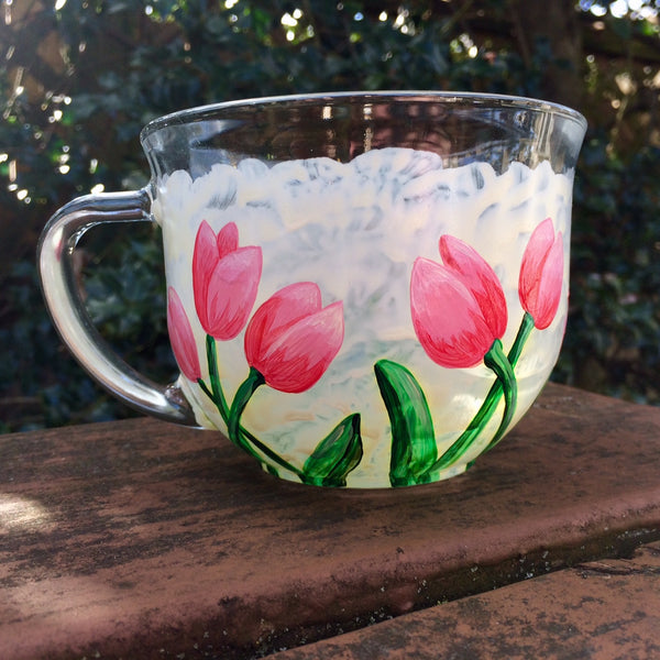 Pink Tulip Glass Mug