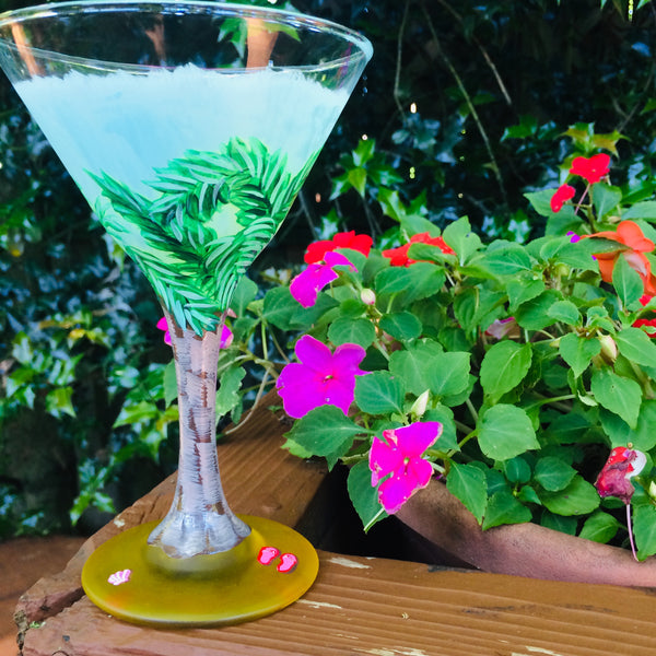 Palm Tree Martini Glass