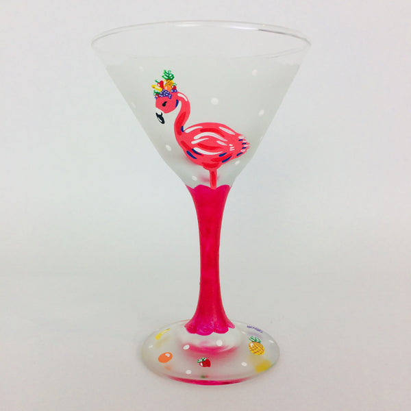Pink Flamingo Fun and Fruity Martini Glass