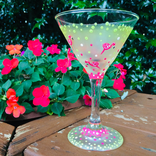 Pinka Dot Flamingo Martini Glass