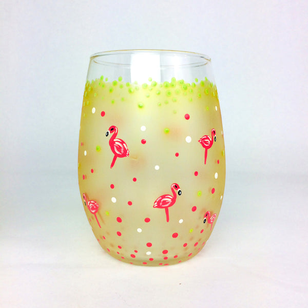 Pinka Dot Flamingo Stemless Glass