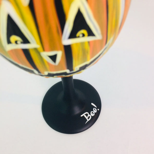 Jack O Lantern Wine Glass