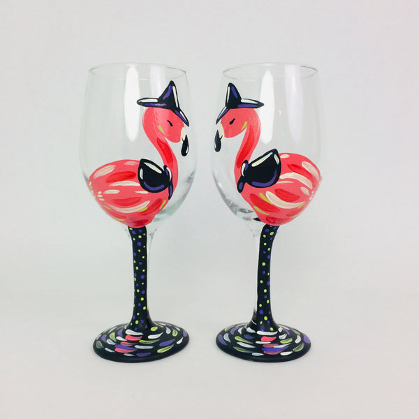 Pink Flamingo Halloween Wine Glass