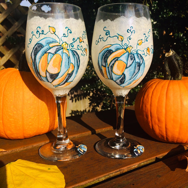 Patchwork Pumpkins Wine Glasses