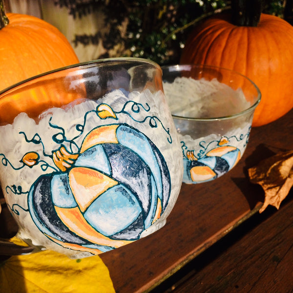 Patchwork Pumpkins Glass Mug