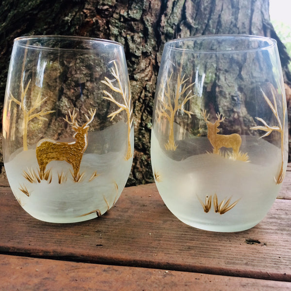 Autumn Deer Stemless Glass