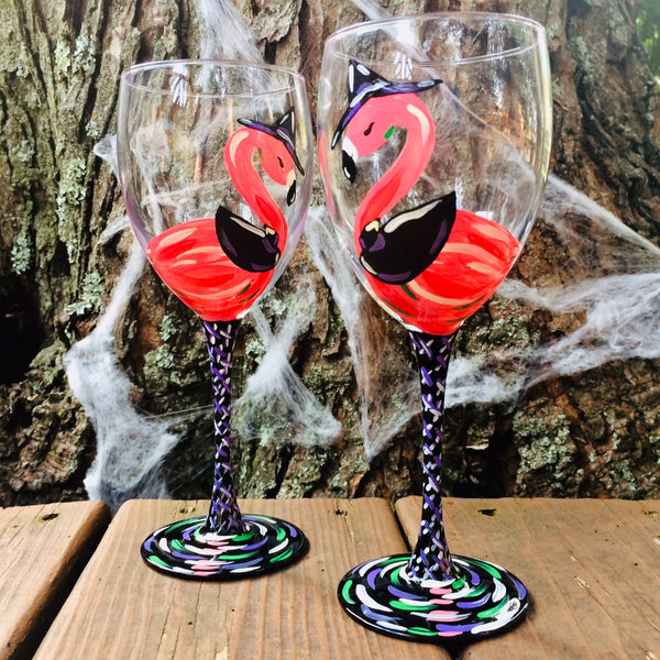 Flamingo Halloween Wine Glasses
