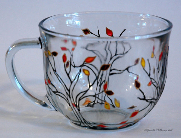 Jeweled Autumn Trees Glass Mug - Janelle Patterson Art
