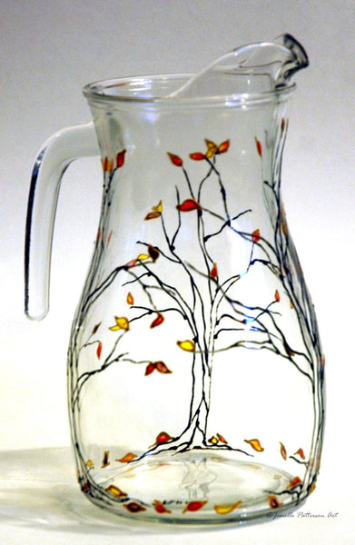 Jeweled Autumn Trees Pitcher - Janelle Patterson Art