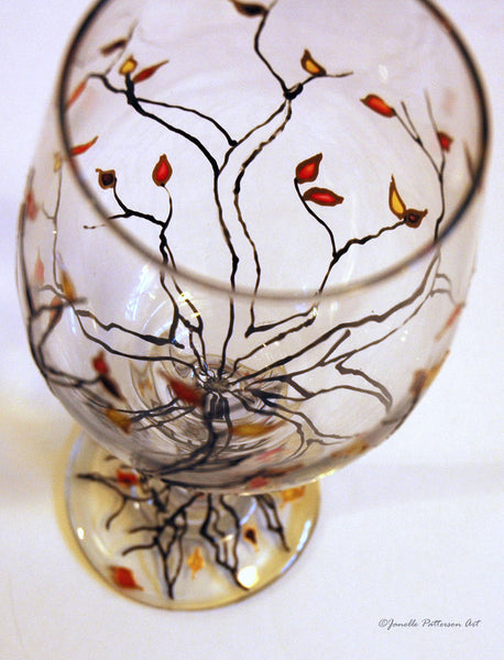 Jeweled Autumn Trees Wine Glass - Janelle Patterson Art