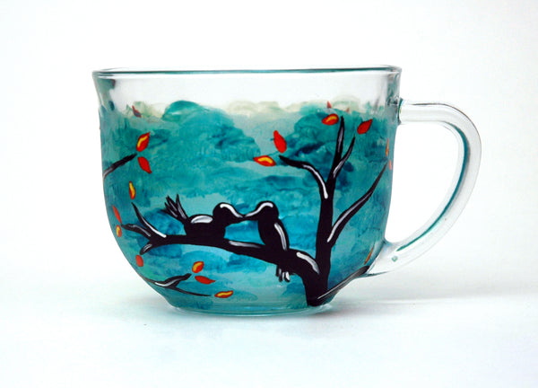 Love Birds Glass Mug - Janelle Patterson Art