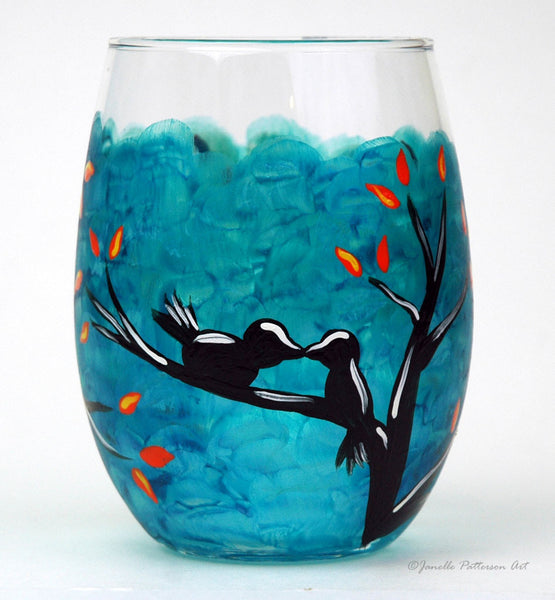 Love Birds Stemless Glass - Janelle Patterson Art