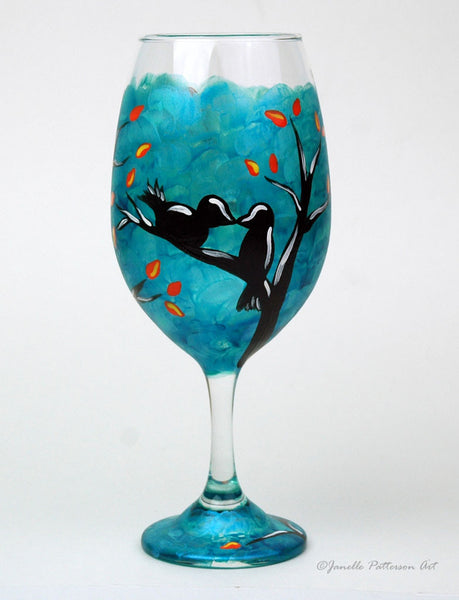 Love Birds Wine Glass - Janelle Patterson Art