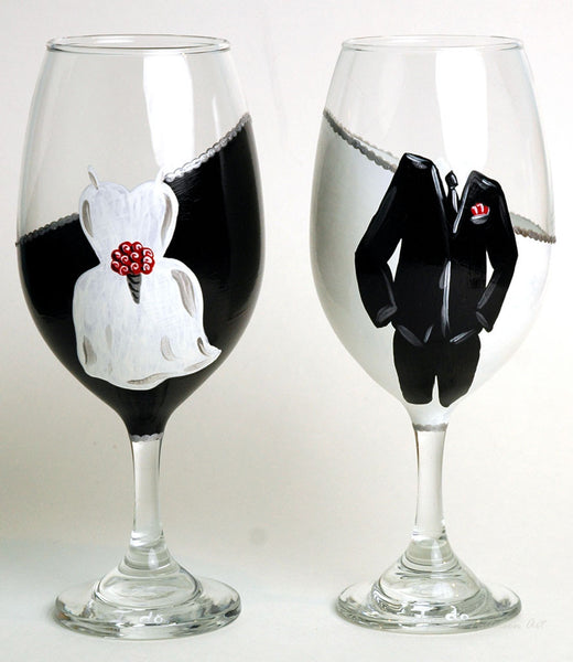 Mr & Mrs Wedding Wine Glasses - Janelle Patterson Art