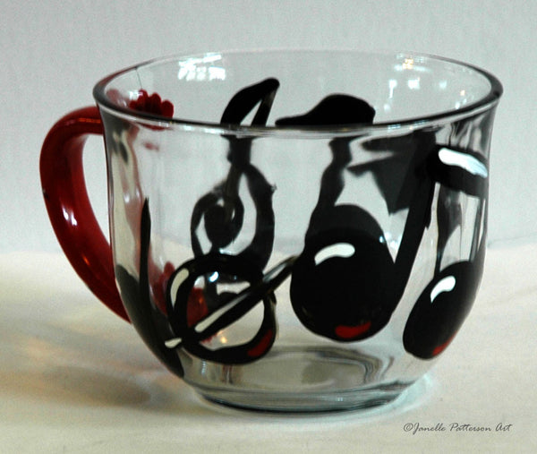 Music Note Glass Mug - Janelle Patterson Art