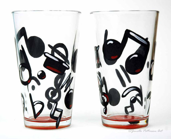 Music Note Pint Glass - Janelle Patterson Art