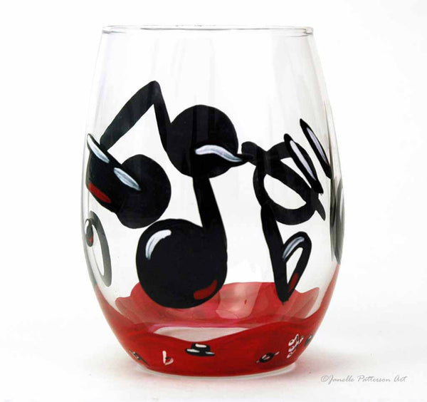 Music Note Stemless Glass - Janelle Patterson Art