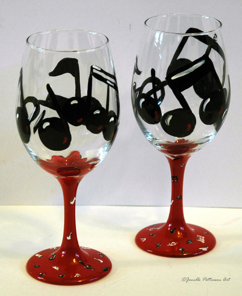 Music Notes Wine Glass - Janelle Patterson Art