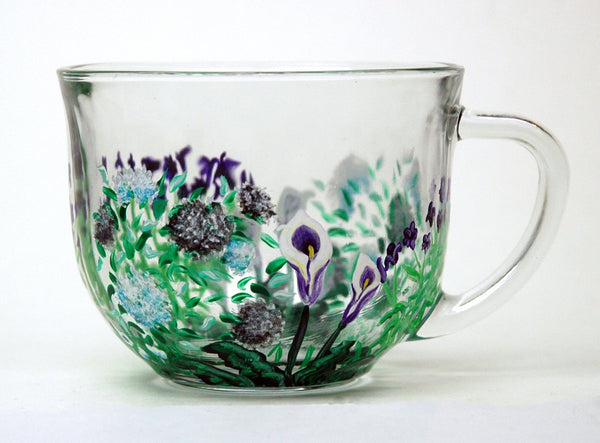 Custom Hand Painted Glass Mug - Janelle Patterson Art