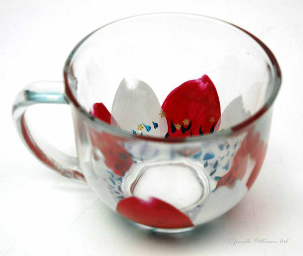 Patriotic Petals Hand Painted Glass Mug - Janelle Patterson Art