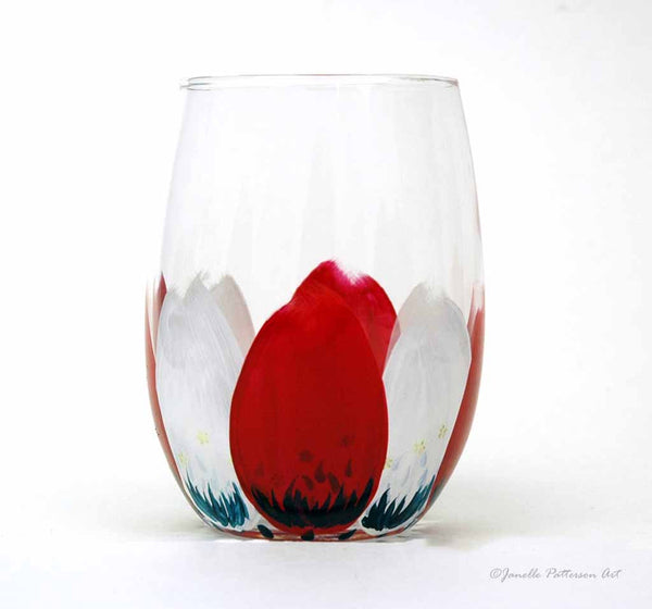Patriotic Petals Hand Painted Stemless Glass - Janelle Patterson Art