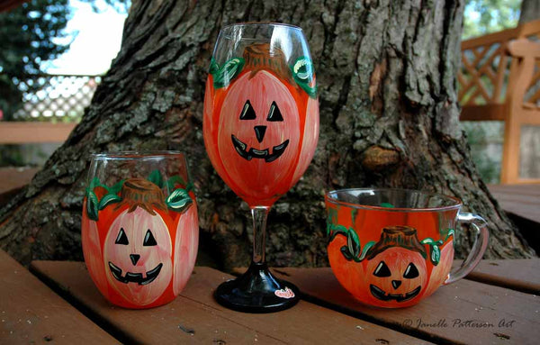 Trick or Treat Wine Glasses - Janelle Patterson Art