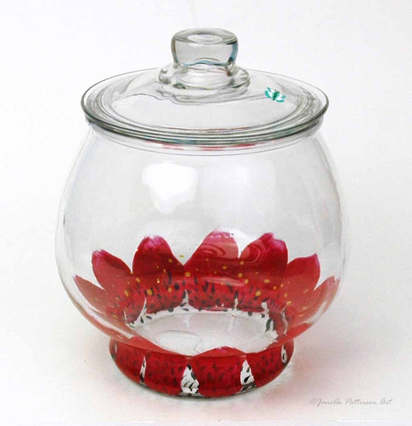 Red Daisy Cookie Jar - Janelle Patterson Art