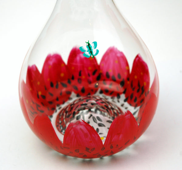 Red Daisy Wine Decanter - Janelle Patterson Art