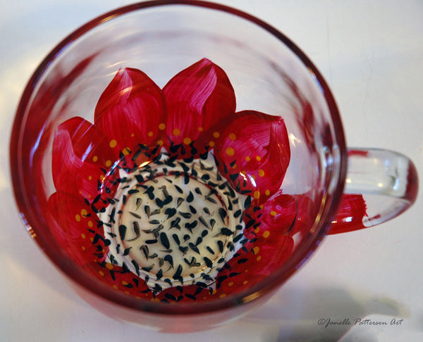 Red Daisy Glass Mug - Janelle Patterson Art
