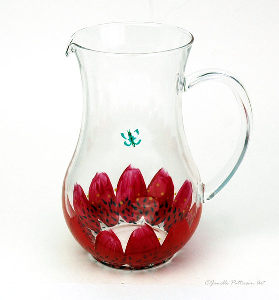 Red Daisy Pitcher - Janelle Patterson Art
