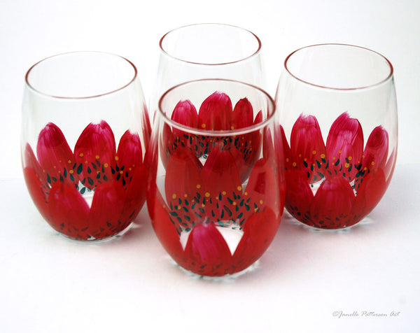 Red Daisy Stemless Glass - Janelle Patterson Art