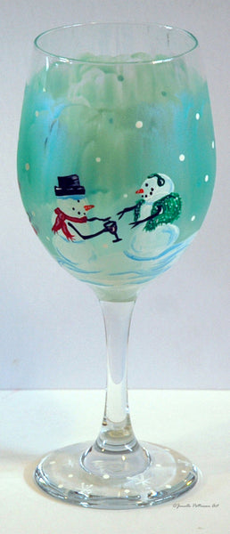 Snow Ball Wine Glass - Janelle Patterson Art