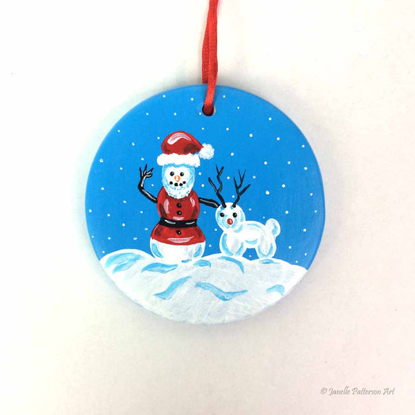 Snow Santa Ceramic Ornament