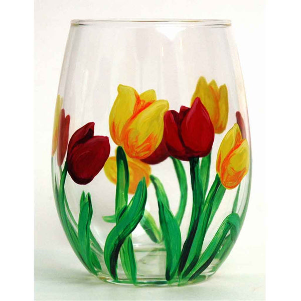 Spring Tulip Stemless Glass - Janelle Patterson Art