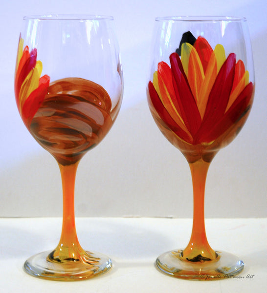 Tall Turkey Wine Glasses - Janelle Patterson Art